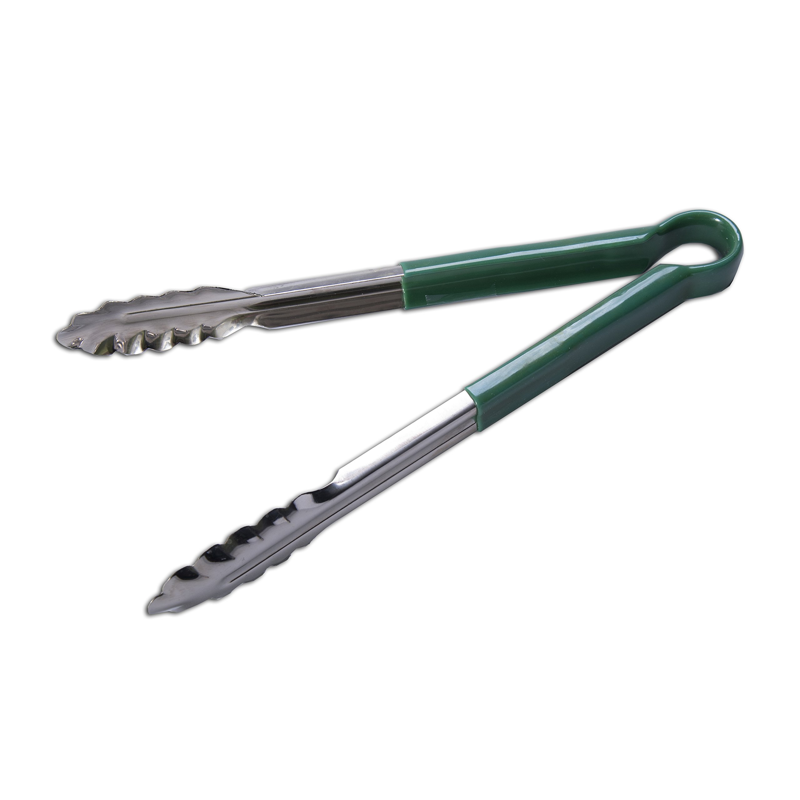Cornerstone, Utility Tong, Green, S/S, 12'', Set of 12