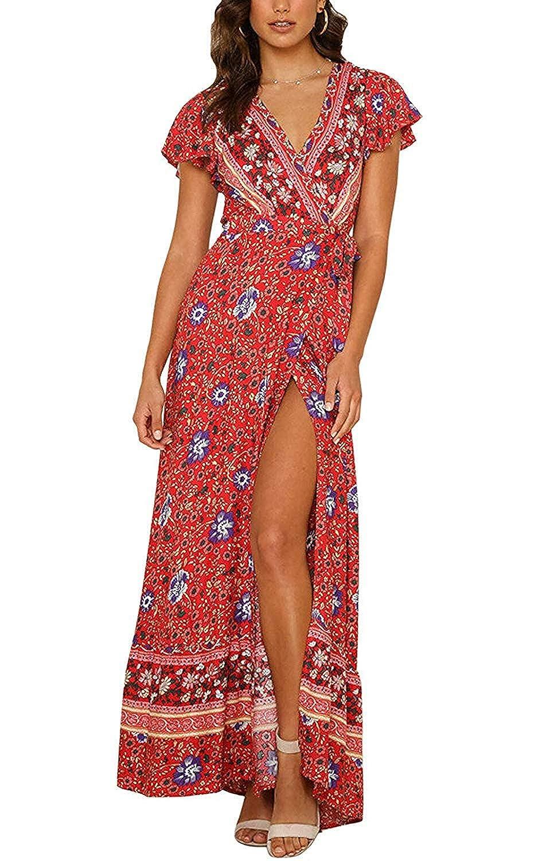 03beb89a7404 YOMISOY Womens Floral Dresses Wrap V Neck Short Sleeve Bohemian Vintage Tie  Slit Flowy Summer Maxi Dress at Amazon Women's Clothing store: