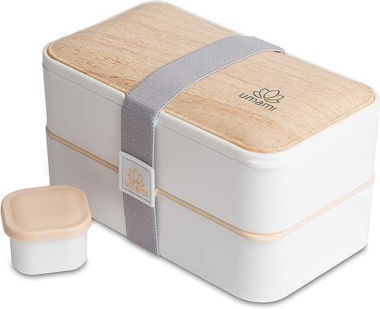 Umami® ⭐ Lunch Box Premium - 1 Recipiente 3 Cubiertos - Tupper Compartimentos Estilo Bento Box Japonés - Porta Alimentos Hermético - Sin Residuos – Microondas y Lavavajillas – Comida En Casa/Trabajo: Amazon.es: Hogar