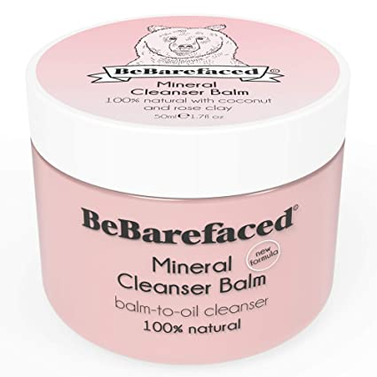 Bálsamo de limpieza facial vegano y natural de BeBarefaced con arcilla rosa mineral y aceite de coco – Limpiador facial humectante y ...