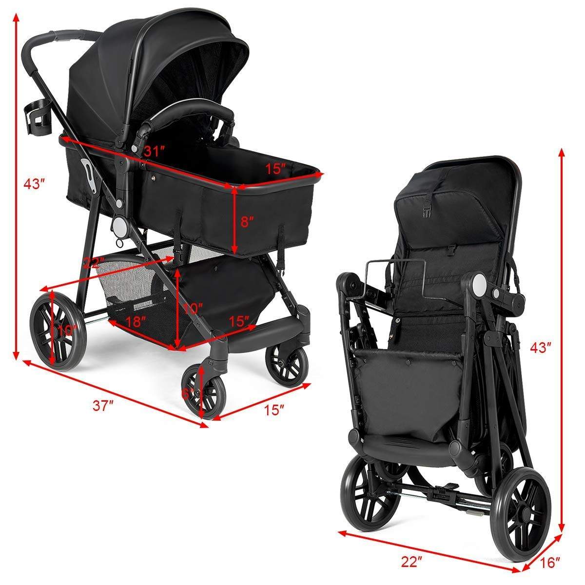 BABY JOY Baby Stroller, 2 in 1 Convertible Carriage Bassinet to Stroller, Pushchair with Foot Cover, Cup Holder, Large Storage Space, Wheels Suspension, 5-Point Harness, Deluxe Black by BABY JOY (Image #5)