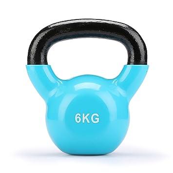 Fithalt Kettlebell Oscilante Pesas Rusas de Hierro Fundido con Revestimiento de Vinilo para el Entrenamiento de Fuerza Mancuerna para Musculación (Azul ...