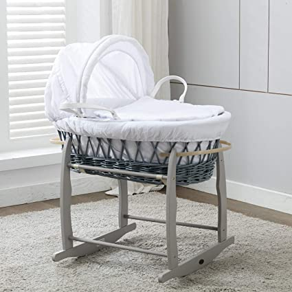 Gray Moses Basket With Rocking Stand Clear And Distinctive Bassinets & Cradles