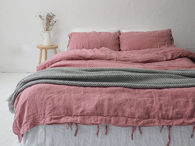 LINEN DUVET COVER | Dusty Pink Color | Queen Size, King Size, Custom Size