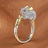 Meenanoom Crystals Lovely Opening Ring Bunny Rhinestone Animal Rings For Women Rabbit (5-9