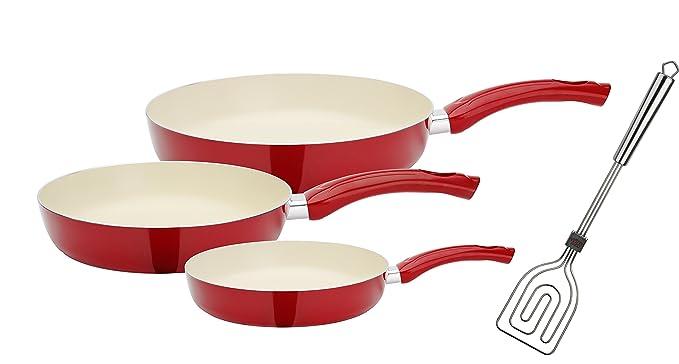 GSW 800358 Ceramica Beige Juego de sartenes (4 Piezas, Incluye, Scala Todo Espátula, Aluminio, Color Rojo/Crema, 50,1 x 29,3 x 5,2 cm, ...