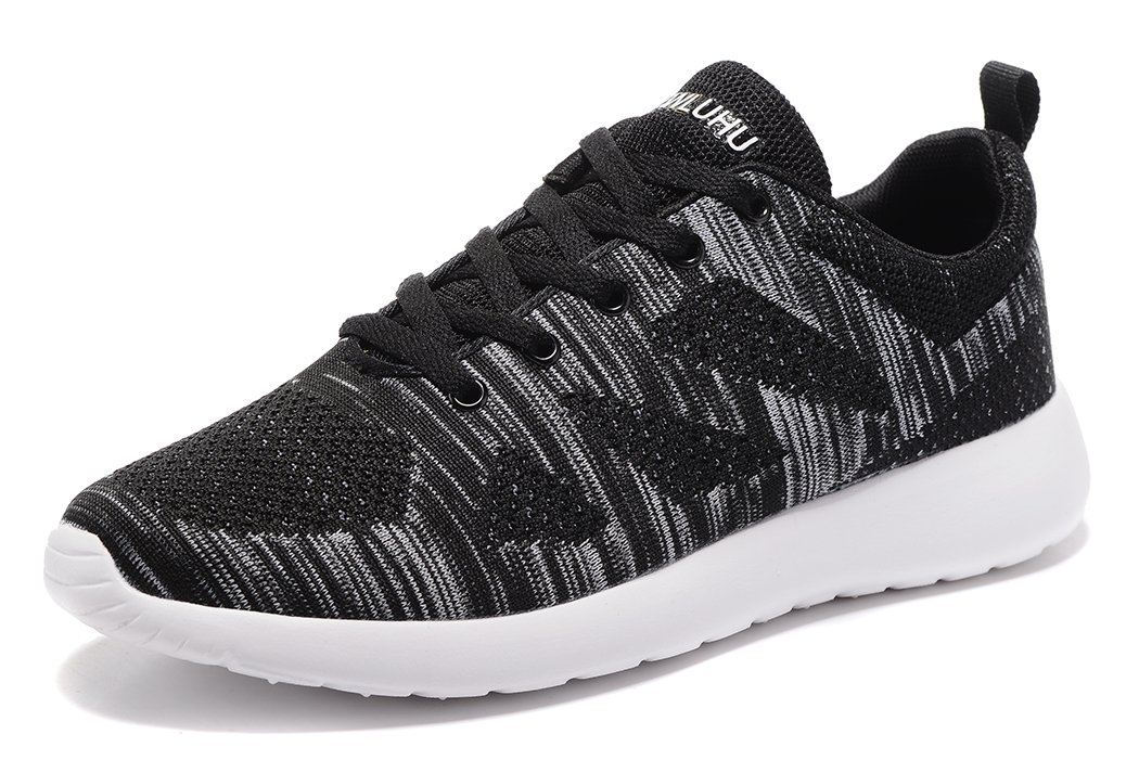 newluhu Men's Running Shoes Lightweight Outdoor Casual Athletic Knit Sports Sneakers(8.5US/42EU, Black)
