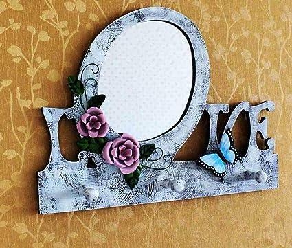 YWJHY Espejo Decorativo Gancho de Pared Colgante de Madera ...