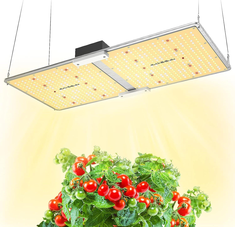 MAXSISUN PB2000 - Luz LED de crecimiento de espectro completo para plantas de interior vegetales y floración, tabla de luz para cubrir una zona de ...