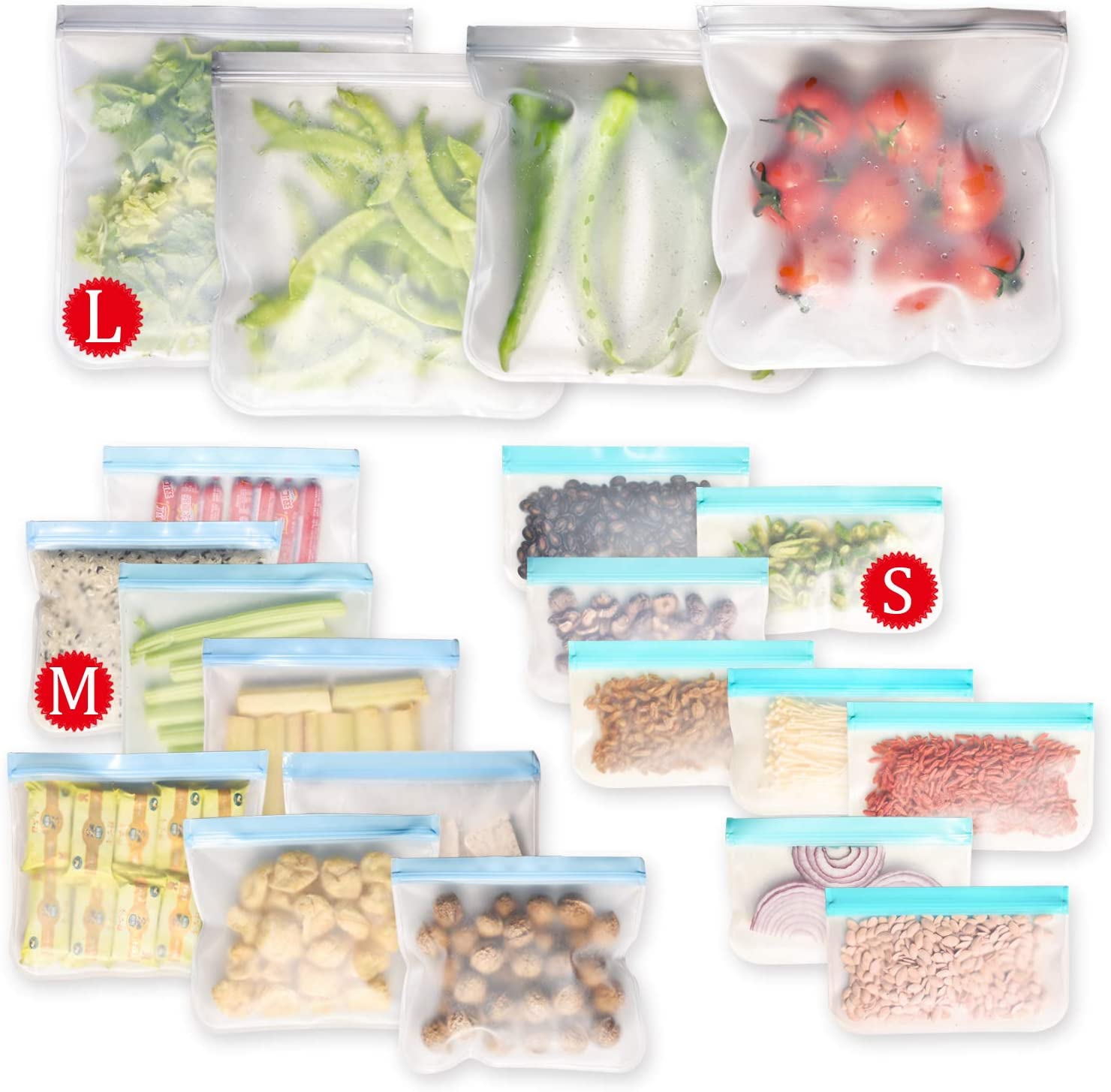 OKMLFGE Reusable Storage Bags - 20 Pack BPA FREE Freezer Bags(4 Reusable Gallon Bags + 8 Leakproof Reusable Sandwich Bags + 8 THICK Reusable Snack Bags) Lunch Bags for Food Marinate Meat Fruit Cerea