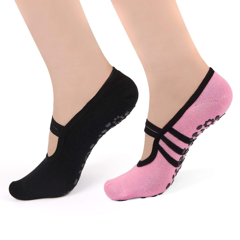 Womens Yoga Socks Non Slip Skid Pilates Barre Sock with Grips Ballet Shoes 2 Pack HARAVAL .