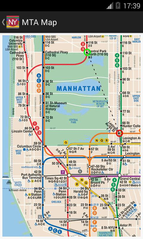Newyork subway route planner appstore para android for Lista de precios subway