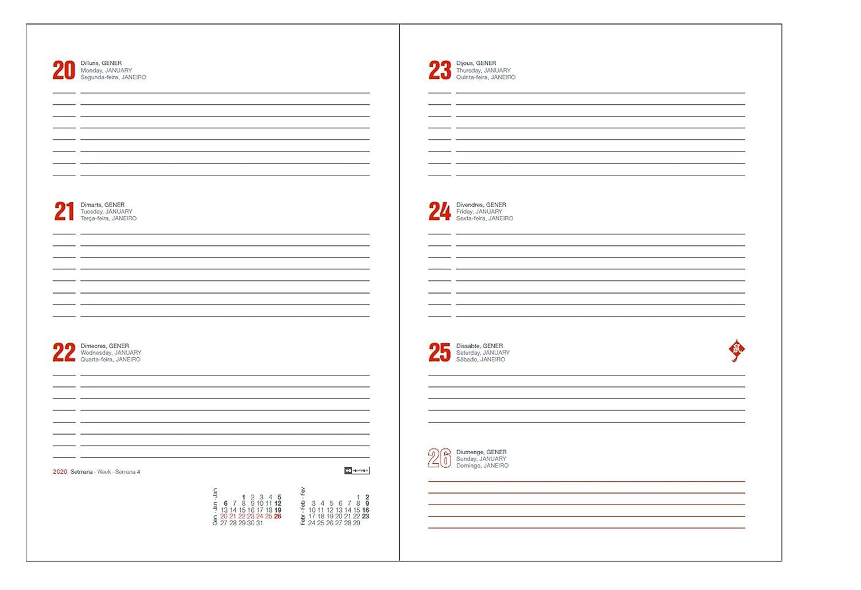 117 x 182 mm SVH Semana Vista Horizontal Miquel Rius 1 Rojo Castellano Agenda 2020