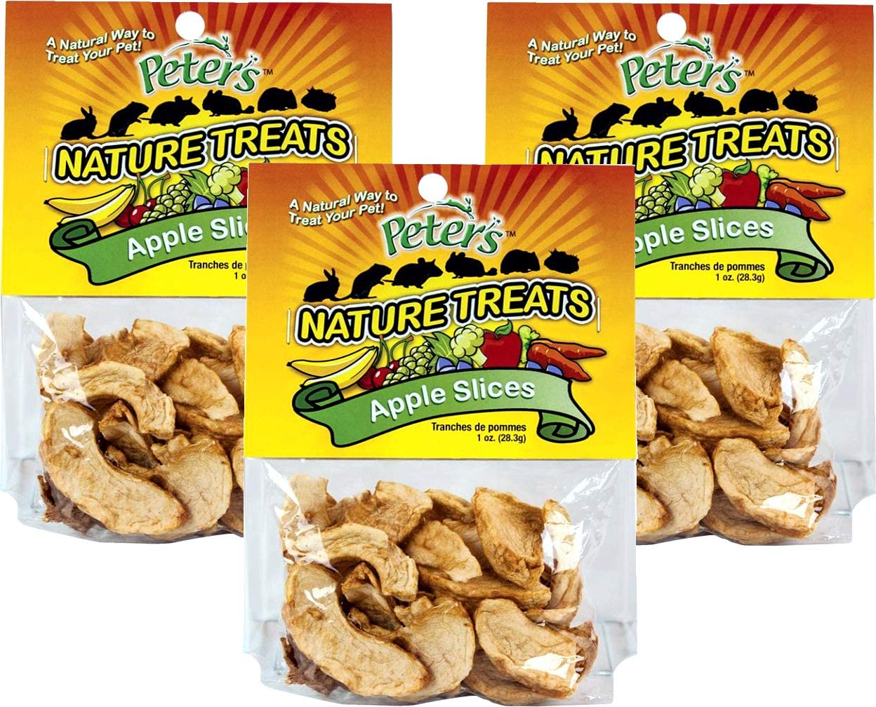 Peters (3 Pack) Apple Slices Small Animal Nature Treats, 1 Ounce Per Bag
