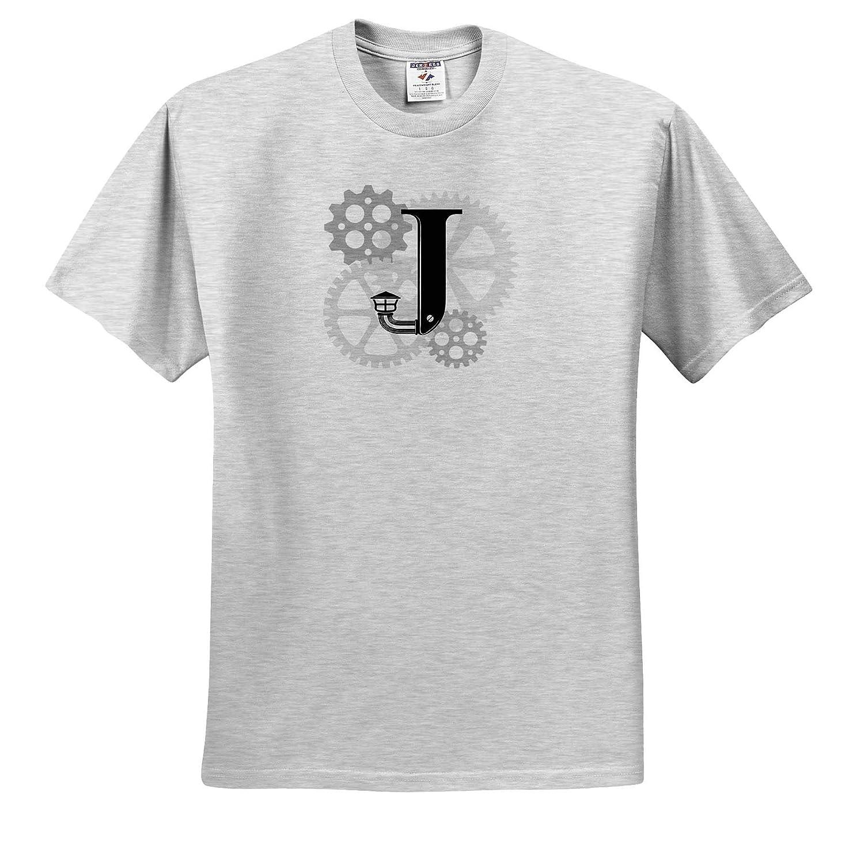 Gears Mechanics T-Shirts Grey cogs Machinery Dazzling Black Letter J Monogram Mechanics 3dRose Alexis Design