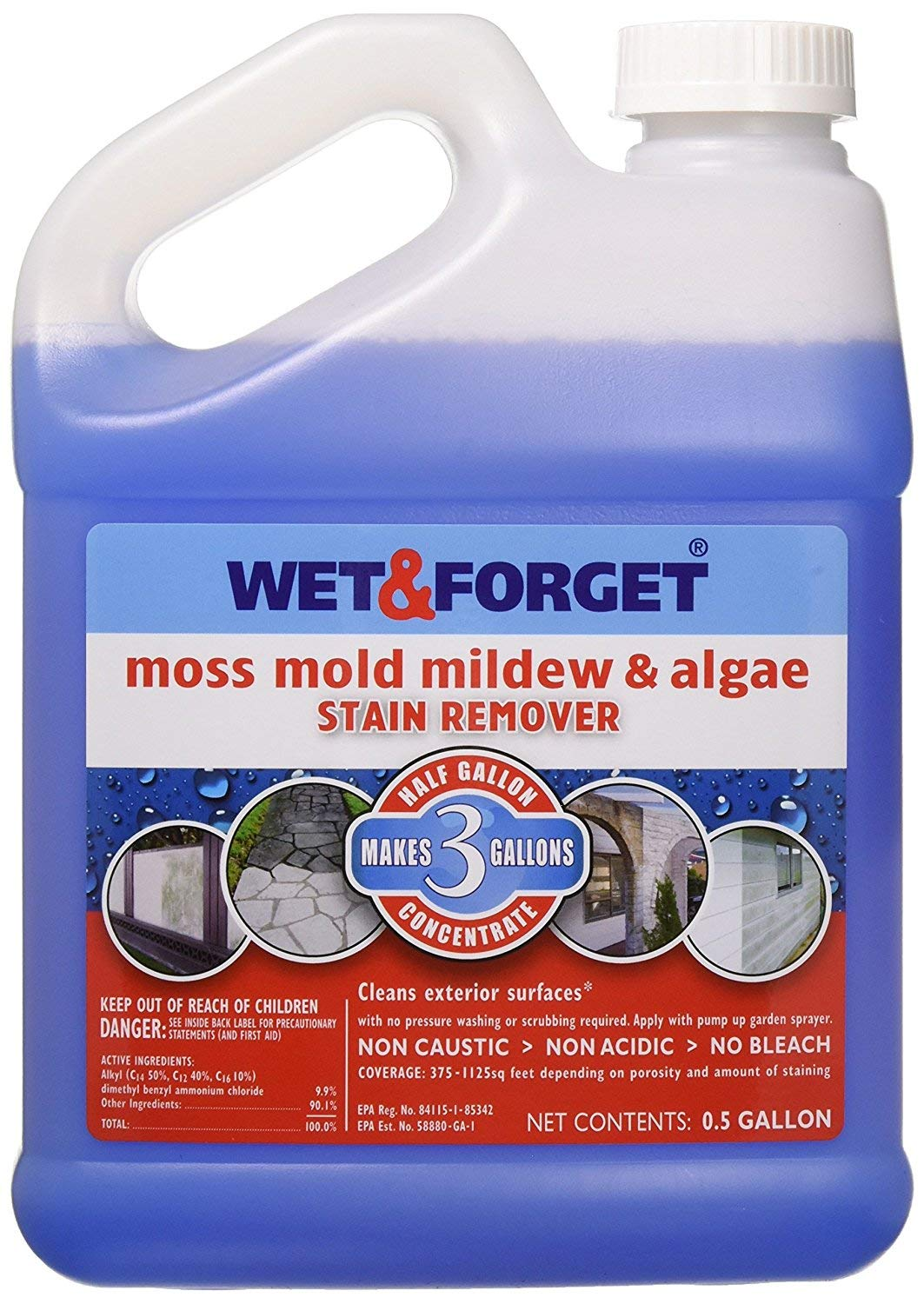 Wet and Forget 800003 Wet and Forget Moss Mold Mildew & Algae Stain Remover (1-Unit)