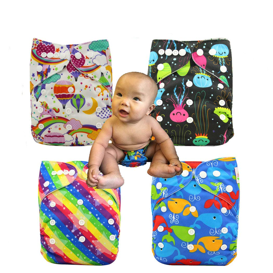 Pañales ajustables unisex para bebé de bolsillo, 3/4/6 piezas + 3/4/6 piezas 12pcs-1 Talla:talla única OHBABYKA