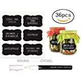 Immuson Chalkboard Labels,36 Chalkboard Stickers Large and Reusable for Jars Boxes Containers 36 Chalkboard Labels + 1 Liquid Chalk Pen Decorate Your Kitchen & Pantry Storage & Office