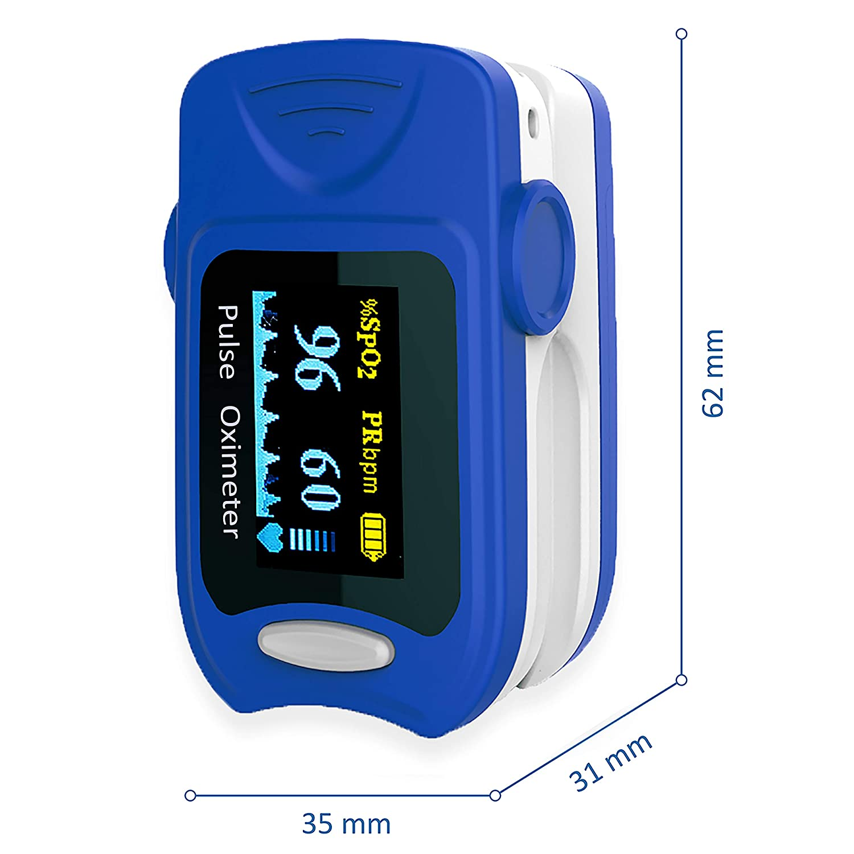 AIESI Pulsioxímetro de dedo Profesional portátil Medidor de Oxígeno con pantalla giratoria a COLORES ✓ Garantía 24 meses ✓ Pilas incluidas ✓ Funda ...