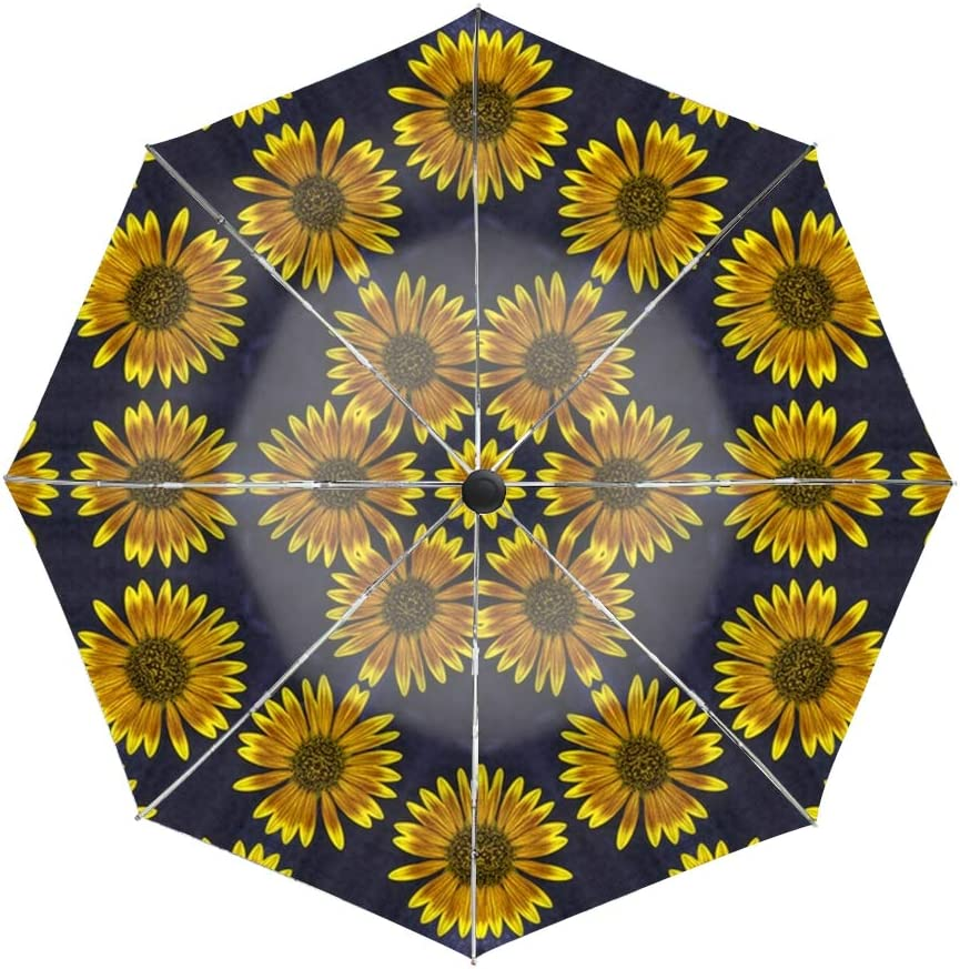 Black And White Sunflower Compact Travel Umbrella with Windproof Double Canopy Construction Auto Open//Close Button