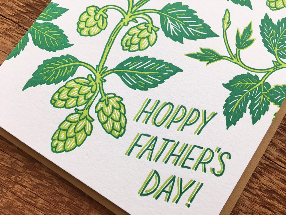 Fathers Day Card Beer Dad Card Blank Inside Hoppy Fathers Day Folded Letterpress Card