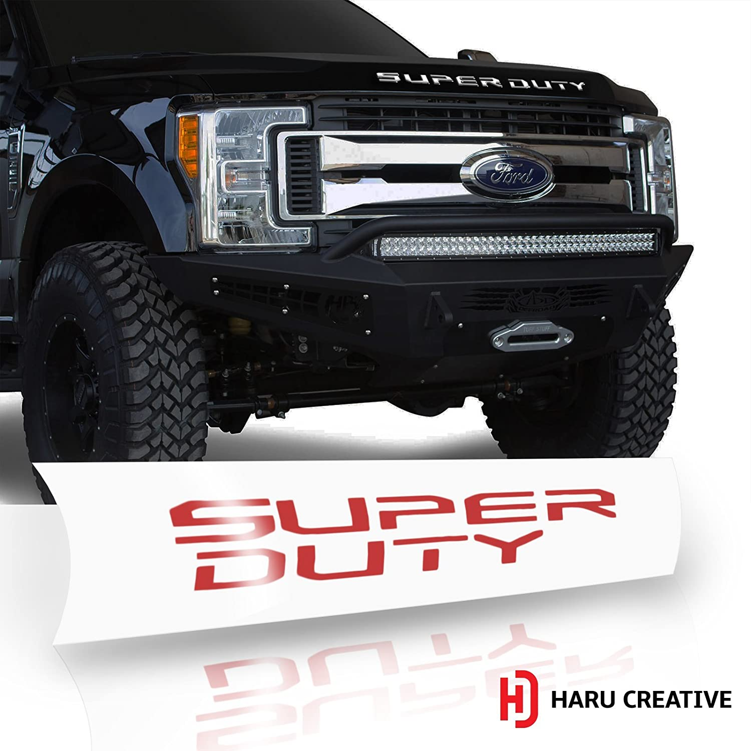 Gloss Red Haru Creative Hood Grille Letter Insert Overlay Vinyl Decal Compatible with and Fits 2017 2018 Ford Super Duty F250 F350 F450