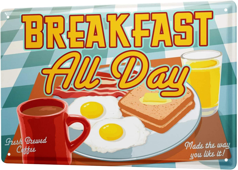 LEotiE SINCE 2004 Tin Sign Metal Plate Decorative Sign Home Decor Plaques Food Restaurant Decoration Breakfast Coffee Cup Fried Eggs Toast Orange Juice Metal Plate 8X12