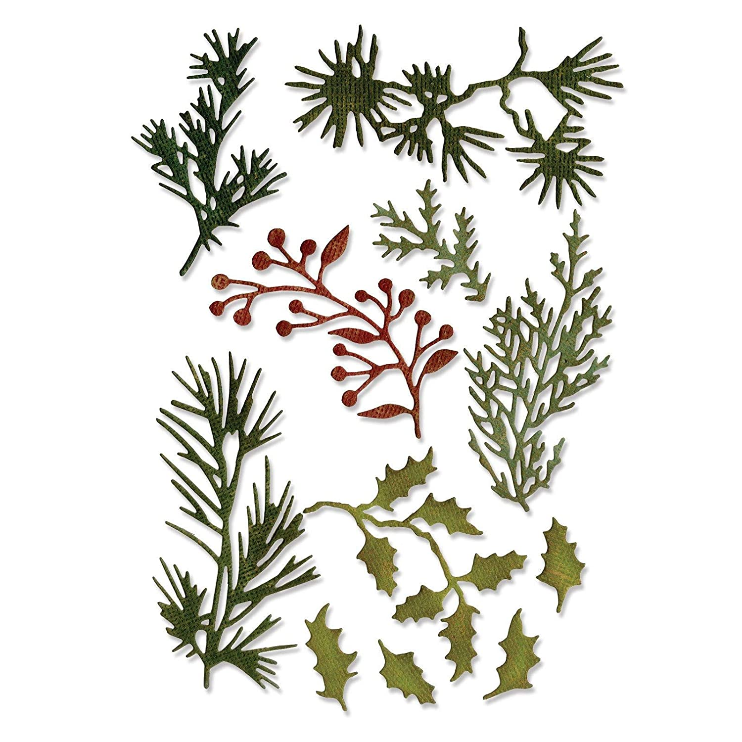 Mini by Tim Holtz 11-Pack Holiday Greens Sizzix 661597 Thinlits Die Set
