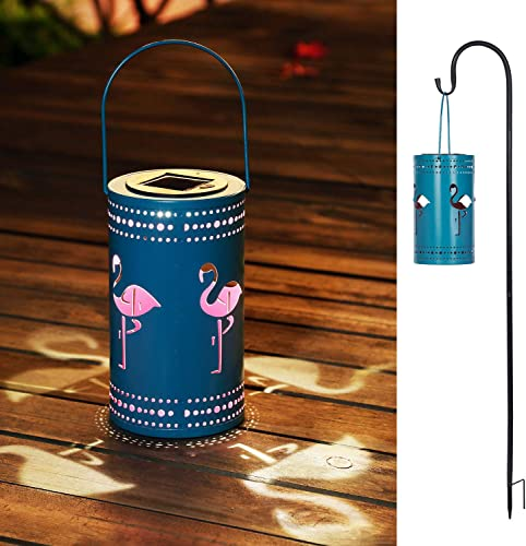 Flamingo Solar Lantern Lights Outdoor Blue Hanging Solar Lantern with Shepherd s Hooks,Metal Flamingo Table Lamp for Patio Courtyard Garden Flamingo Pattern