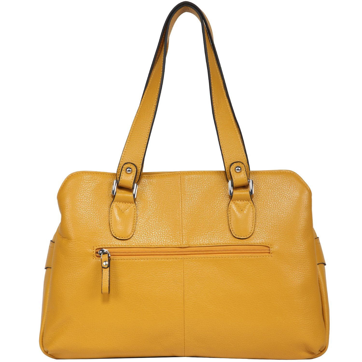 2a6bd67bc2 Amazon.com: Banuce Womens Colored Real Leather Shoulder Tote Bag Ladies  Handbags Double Zippered Top Handle Work Office Purse Yellow: Banuce