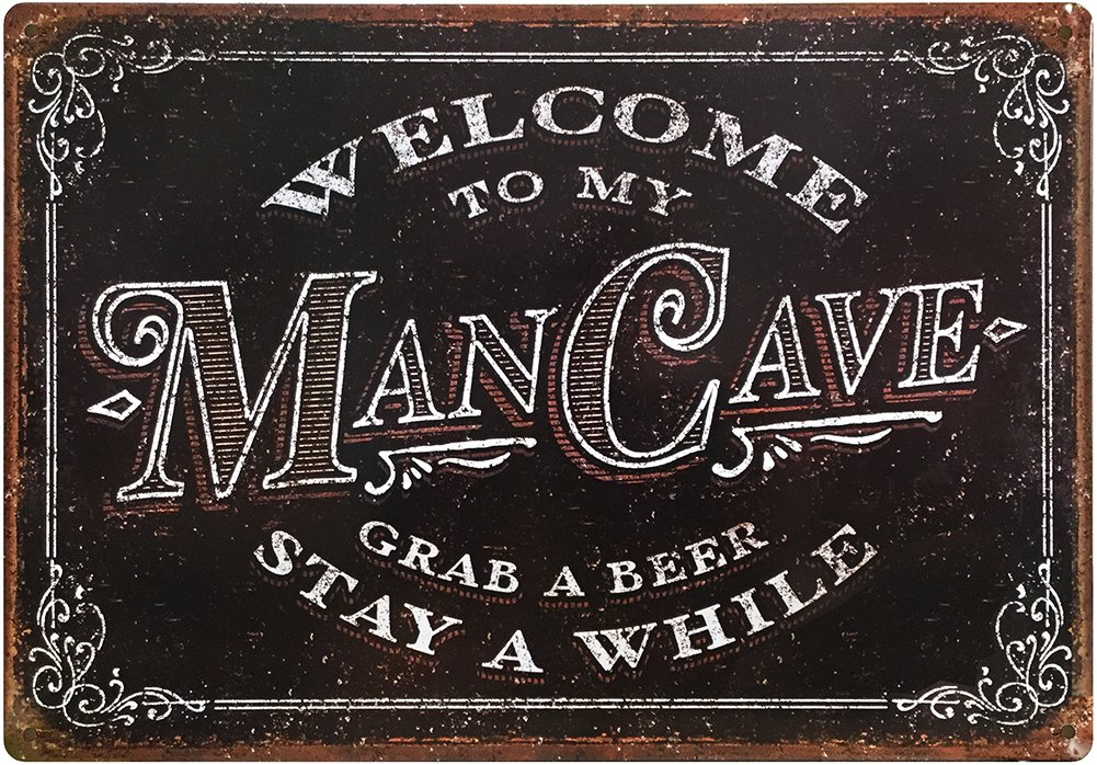 Man Cave Decor Sign 11'' x 16'' Tin Metal ManCave Accessories Garage Bar Shop Crates Gifts For Men