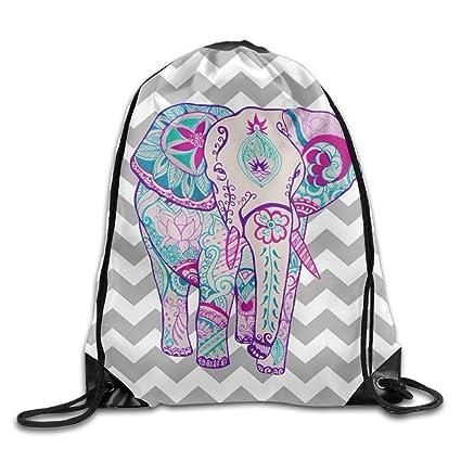 Cordón Mochilas elefante Chevron impresión bolsa viaje gimnasio deportes  mochila portátil Sackpack Unisex 1a3b840c04ff8