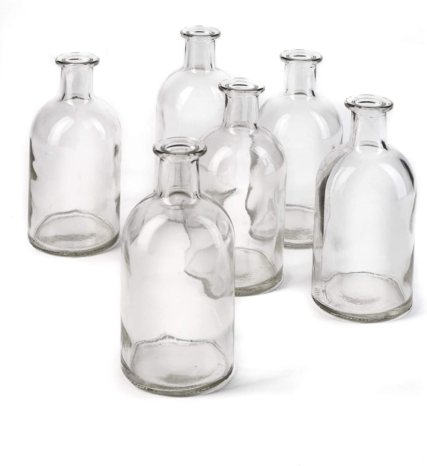 Serene Spaces Living Bud Vases, Apothecary Jars, Decorative Glass Bottles, Centerpiece for Wedding Reception, Mini Flower Vases, Small Medicine Bottles for Home Decor (Clear, Set of 6)