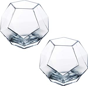 "CYS EXCEL 6"" Glass Geometric Terrarium Bowls (Pack of 2) 