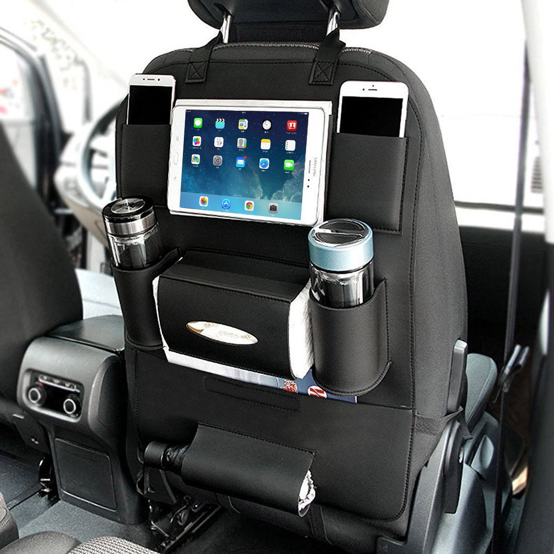 YOOSUN Kick Mats Car Organisers Auto Organizer Pockets Waterproof Seat Back Protectors for Kids with 10' iPad Holder With Tissue Box Auto Seat Covers for Car Travel Accessories-1 Pack