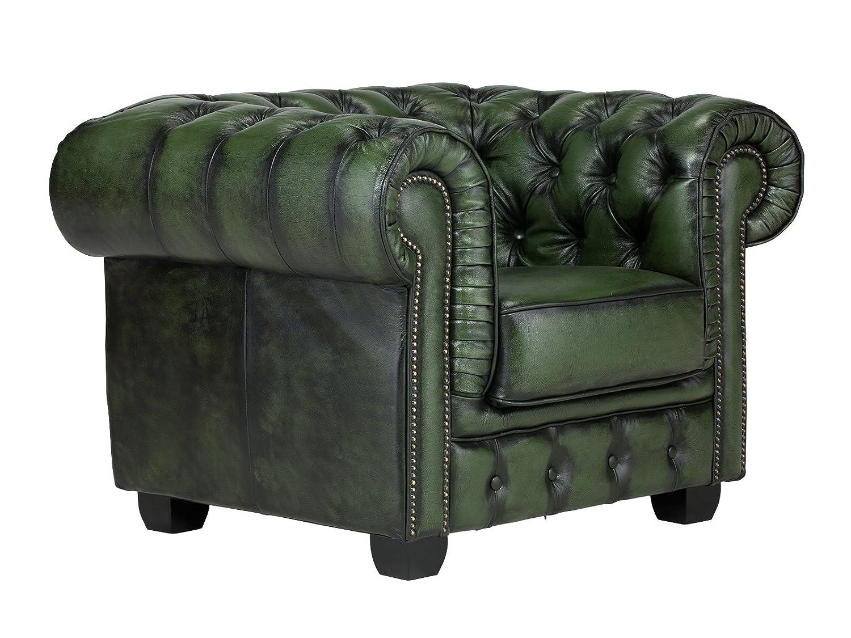 massivum Sessel Chesterfield 115x87x95 cm Echtleder grün