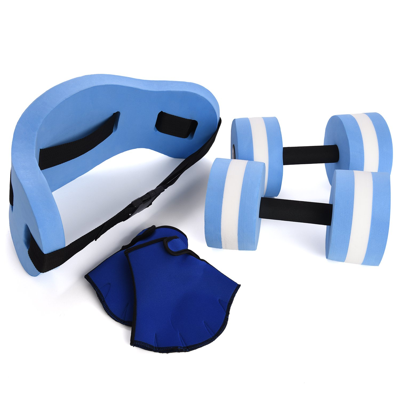 Ivation Water Exercise Set – 6 Piece Set – Water Workout and Aerobics – Floatation Belt, Resistance Gloves, Dumbbells IVAAFESET