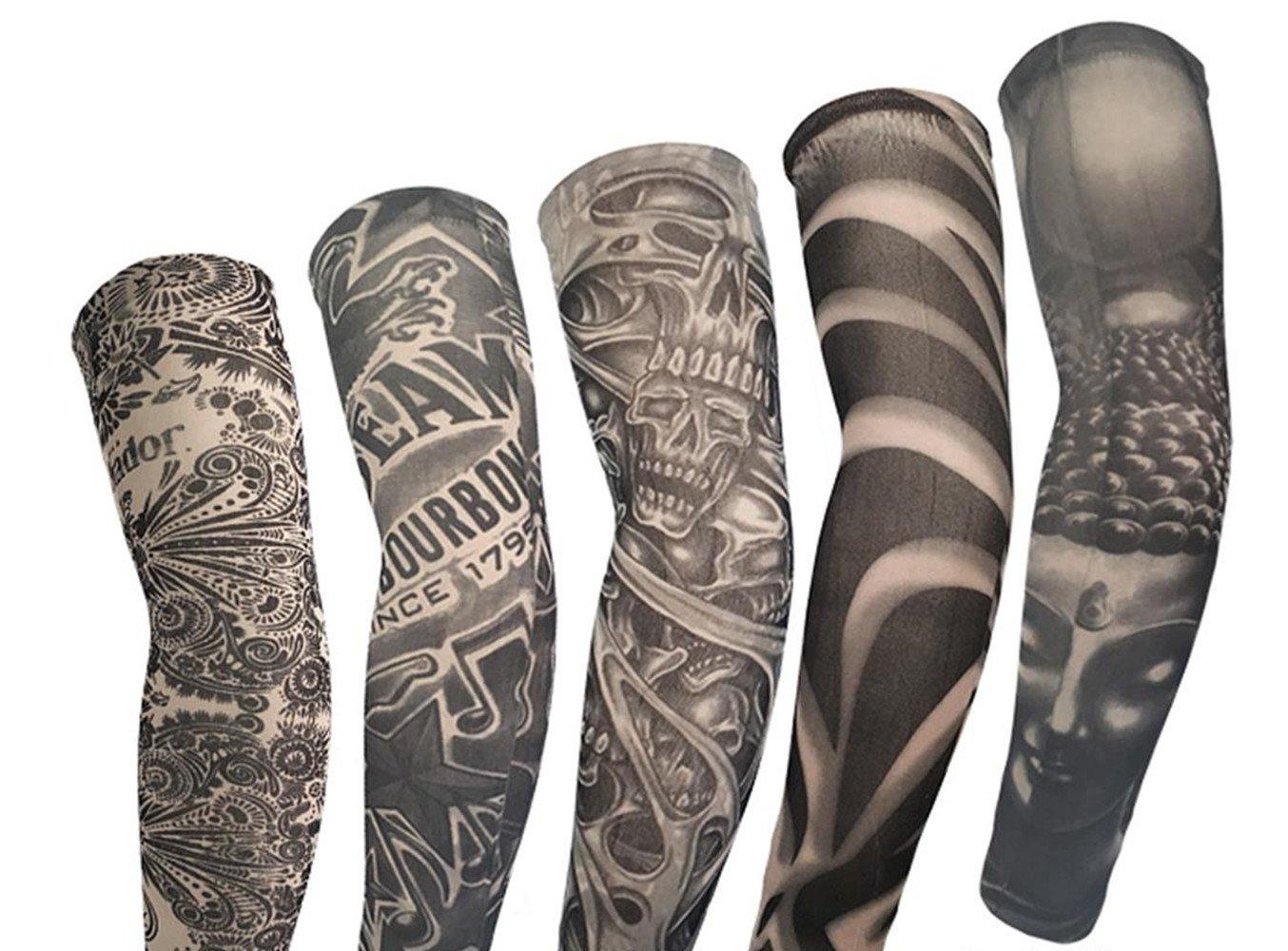 Kehuashina 5 Piezas Falsas Mangas del Tatuaje Temporal para ...