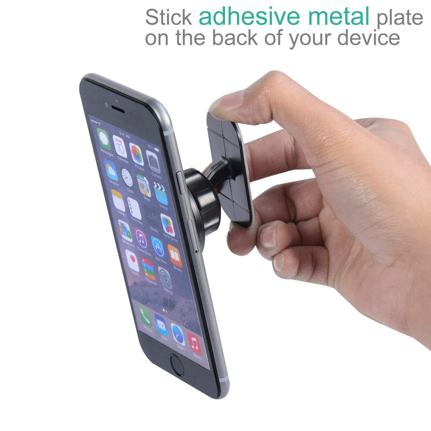 Magnetic Mount Universal Stick On Dashboard Magnetic Car Mount Holder for Cell Phones and Mini Tablets with Fast Swift-snap Technology with 2 Metal Plates