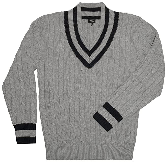 Edwardian Men's Shirts & Sweaters Classic Tennis Sweater Gray Navy $110.40 AT vintagedancer.com