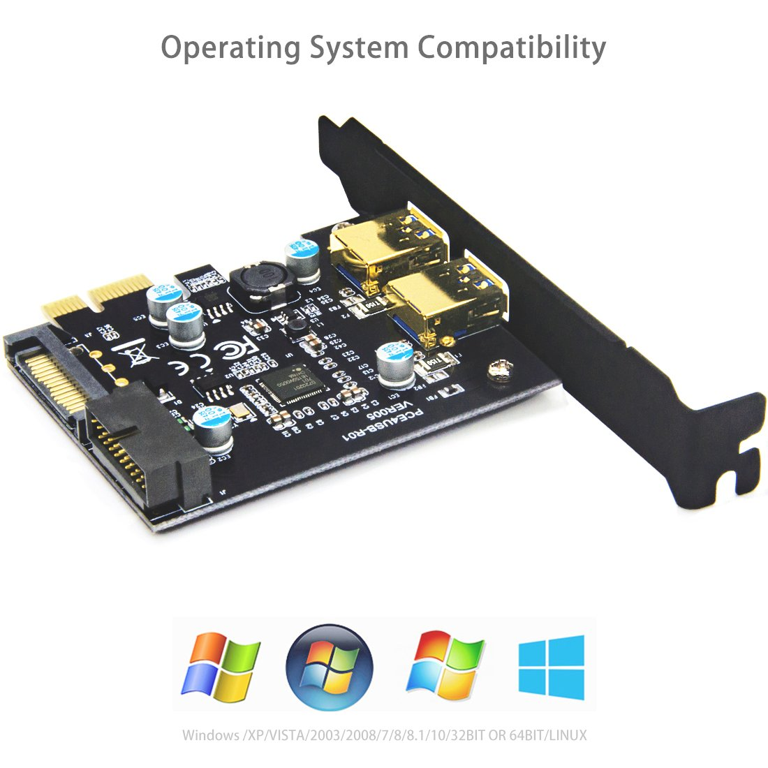 Mailiya PCI-E to USB 3.0 2-Port PCI Express Card,Mini PCI-E USB 3.0 Hub Controller Adapter 15-Pin Power Connector 1 USB 3.0 20-Pin Connector - Expand Another Two USB 3.0 Ports by Mailiya (Image #4)