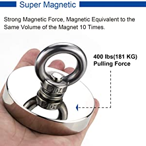 Strong Neodymium Fishing Magnets with Countersunk Hole Eyebolt Diameter 2.36 inch(60 mm) 400 lbs(181 KG) Pulling Force for Retrieving in River and Magnetic Fishing (Color: NCNJ-60)