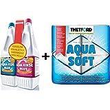 Thetford Aquakem Triple Complete Toilet Chemical Pack 1.5l Blue Toilet Fluid + 1.5l Aqua Fresh Bowl Cleaner + 4 Pack Aquasoft Toilet Tissue