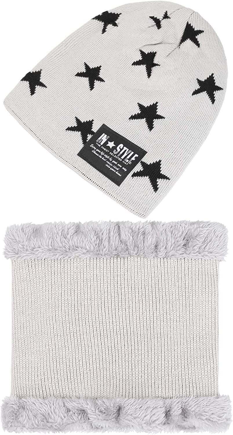 Fantastic Zone Kids Winter Beanie Hat and Scarf Set Warm Knit Beanie Cap and Circle Scarf with Fleece Lining for Kids Boys Girls