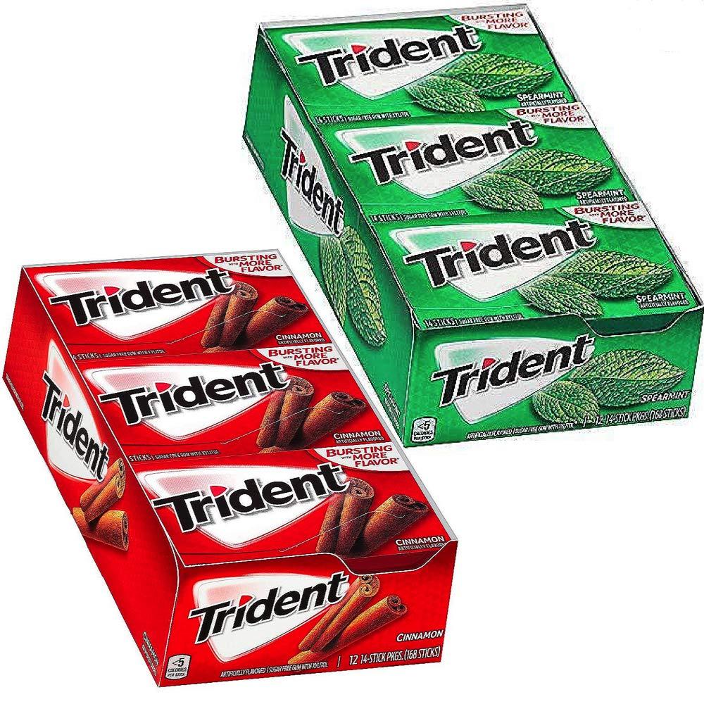 Trident SugarFree Gum Bundle: CINNAMON (168 Count) & SPEARMINT (168 Pieces)
