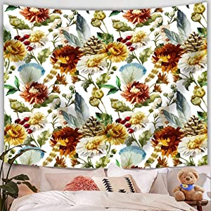 """Aujelly Floral Plants Tapestry Wall Hanging, 51"""" x 59""""Colorful Wild Flowers Tapestry Blossom Plants Tapestry Nature Art Tapestry for Home Decoration (Floral Plants Tapestry)"""