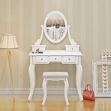 Ensemble Coiffeuse Avec Tabouret Miroir Et Tiroir Mobilier A