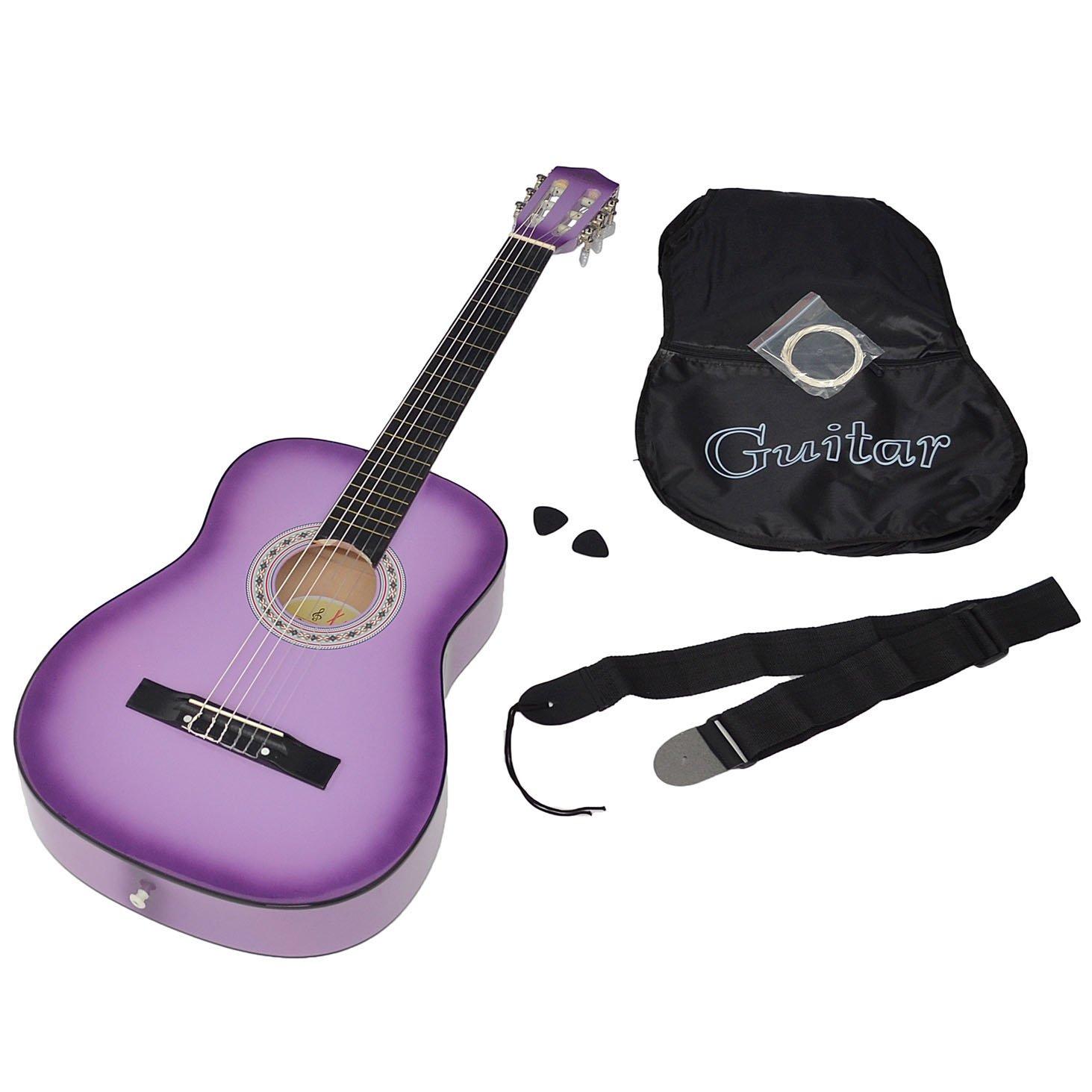 ts-ideen 5267 - Guitarra acústica clásica (incluye funda, correa, cuerdas y púa), color lila con contorno negro