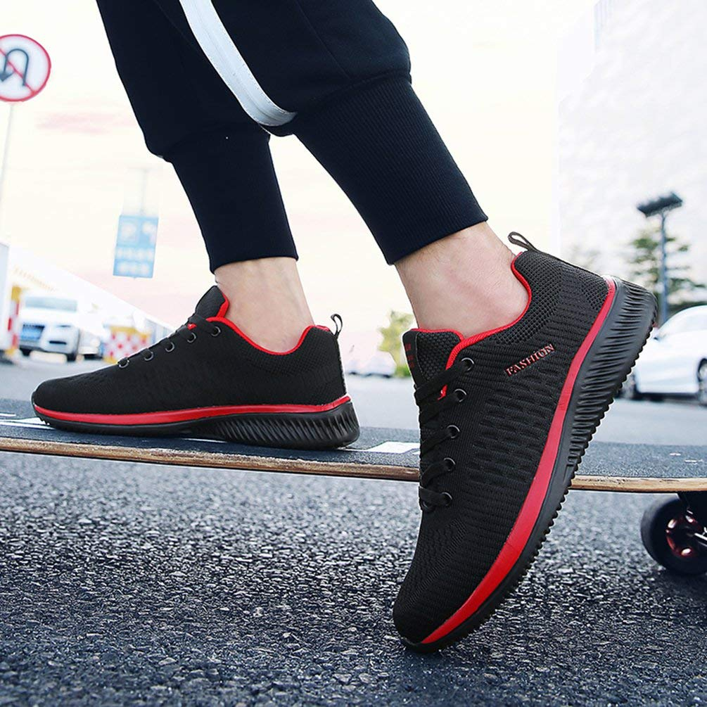 Men Running Shoes Mesh Breathable Jogging Fitness Soft Sport Shoes Male Red Black 43