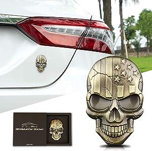 3D Skull Devil Death USA Flag Metal Car Motorcycle Emblem Badge Sticker Decal